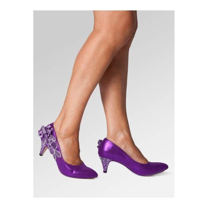 Escarpins Chaussures de mariage pourpre - mariée - demoiselles d'honneur - Chaussures à talons mi dames de la cour