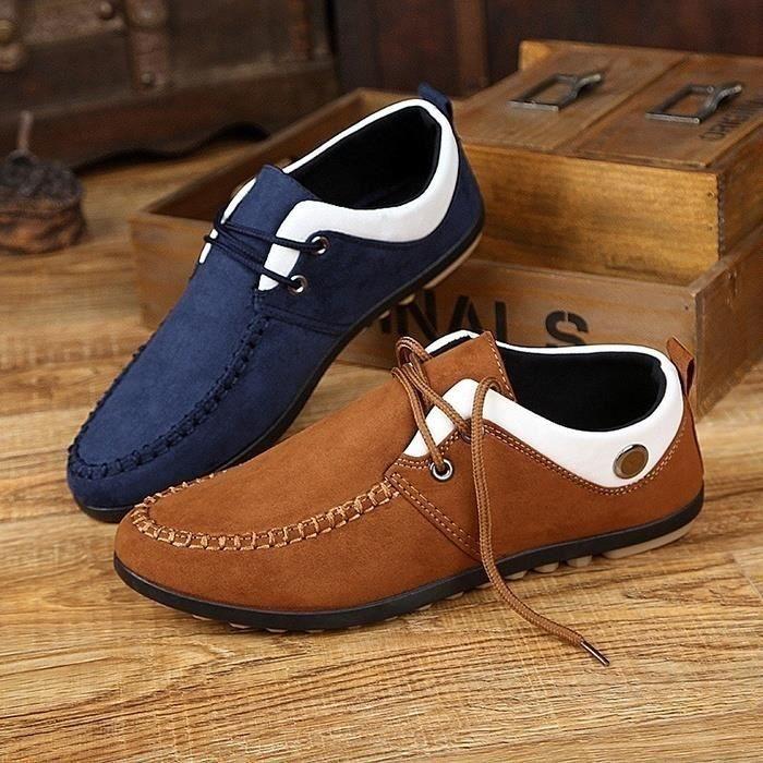 Mode Hommes Respirant Doug Chaussures Corée Fashion Style Mocassins Souliers conduite à lacets,bleu,42