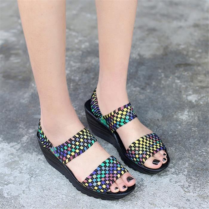 Haut Femme Sandale noir Chaussures D'été Durable jaune Bleu Qualité Baiou Confortable Classique Sandales xTXOwS5O