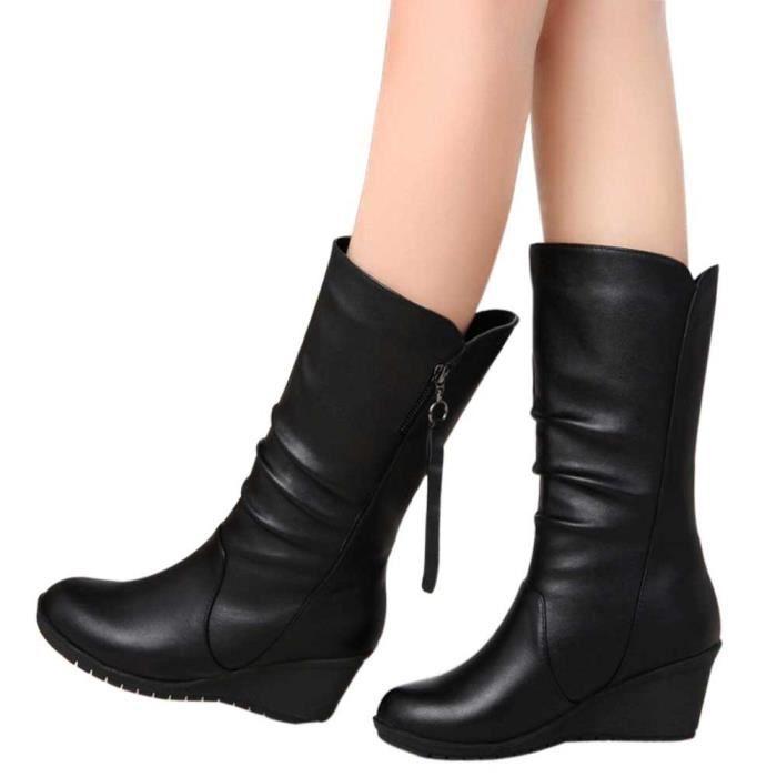 Haut Cales Femmes Chaud Bottes Zipper Dames Chaussures Hiver Cheville noir Talon Bottes gg Automne ZqTgTwBR