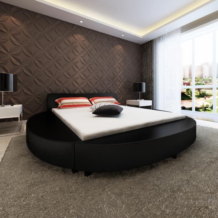 Bon Lit En Cuir Artificiel Rond Noir 200 X 180 Cm Design Moderne Luxueux Chambre  à Coucher Hôtel