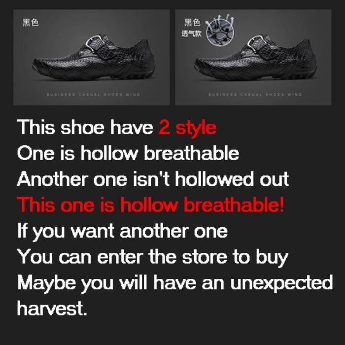 chaussures multisport Homme de conduited'affaires respirante Mocassins en cuir décontractée avec Buckles noir taille12