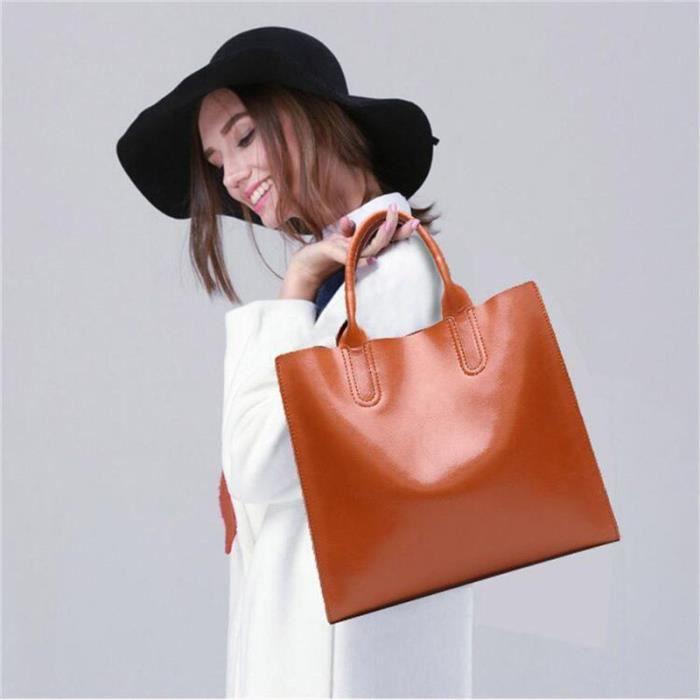 Sac À Main Femme Casual Simple Multi-Fonctionnel En Cuir Véritable Femmes sac à main de marque luxe cuir 2017 Nouvelle Mode rose