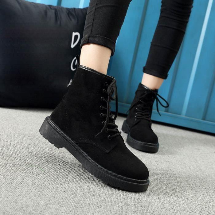 Dames Automne Lacets Plat Hiver BottesTalons Chaussures Femmes formepais gg noir Plate nwO8XNkP0