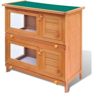 CLAPIER Cage Clapier Enclos lapin Extérieur en bois 4 port