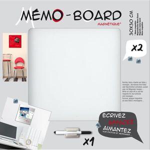 MÉMO - ARDOISE MURALE EMOTION Mémo board magnétique verre blanc 30x30 cm