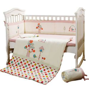 4ad26158f5b7c PARURE DE LIT BÉBÉ Parure de lit bébé 5 pièces fille rose 120cm et 14