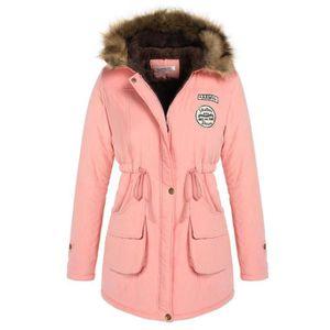 3de8e7126f1 Manteau femmes hiver épais chaude capuche compressible Rose Rose ...