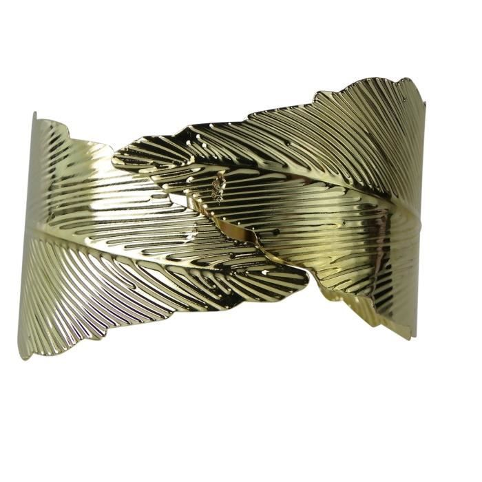 Womens Boho Textured Feather Wrap Hinged Bracelet Gold Tone JHWMM