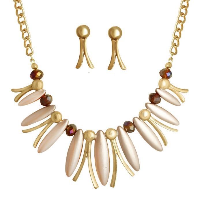 Womens Gold Plated Party Wear Beads Chunky Statet Necklace And Hook Earring Set Ains 223 OG8OG