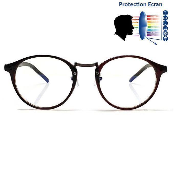 61f8b9287110c4 Lunettes Anti Reflet bleu Ronde Marron - Achat   Vente lunettes ...
