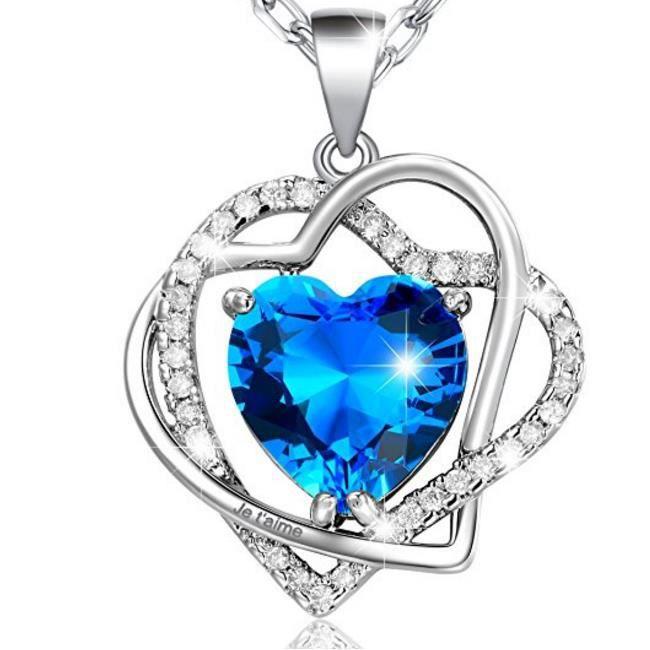 Cristal-Collier Femme en Coeurs Entrelacés-Cristal Bleu DOcéan-Gravé «Je taime»-Plaqué Or Blanc-Bijoux Fantaisie-44+5cm