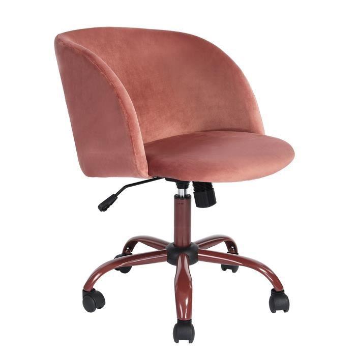 la meilleure attitude 3ae72 b4e25 Homy Casa Fauteuil de bureau hauteur réglable Siège Souple et Comfortable  en Fabric Pivotante 360 degrés roulette,Rose