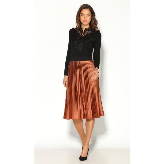 jupe mi longue pliss e taille lastique femme orange achat vente jupe soldes d s le 10. Black Bedroom Furniture Sets. Home Design Ideas
