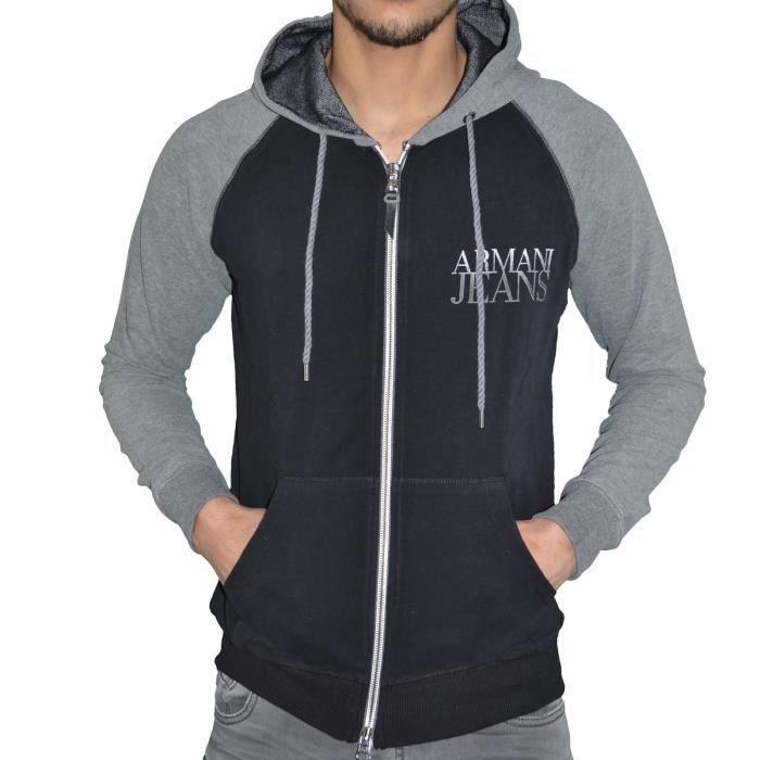 Armani Jeans - Veste Sweat Zippé à Capuche - Homme - Aj Hoodie 02 - Noir  Gris Chiné 60867e7a683