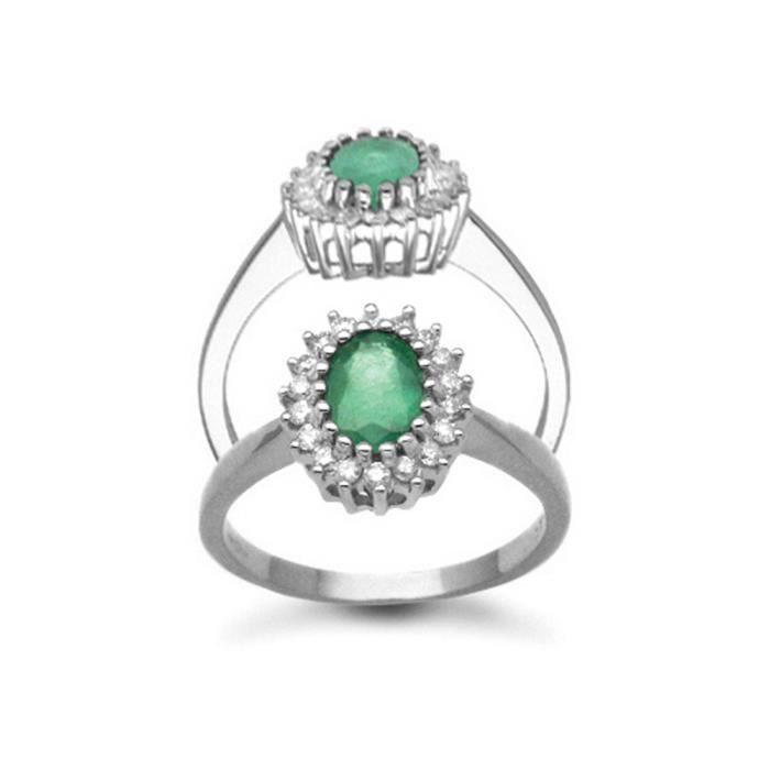 Jewelco London Or Blanc 9k Ovale Vert Emeraude et Diamant Classique Royal Grappe Bague