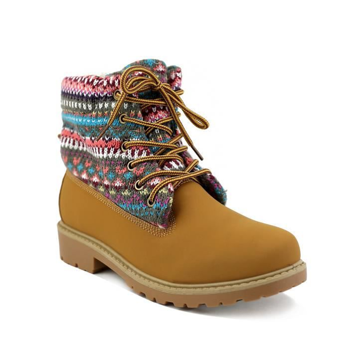 Norwood' Tan Lace Up Multi Color Printed Fabric Boots K5DKX Taille-41