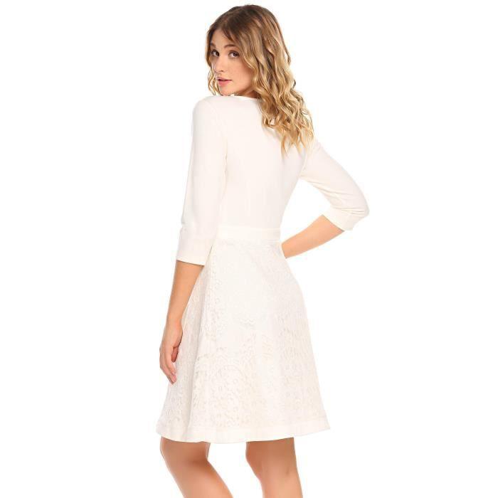 Femme robe de soirée A-ligne en dentelle col-O à manches 3-4