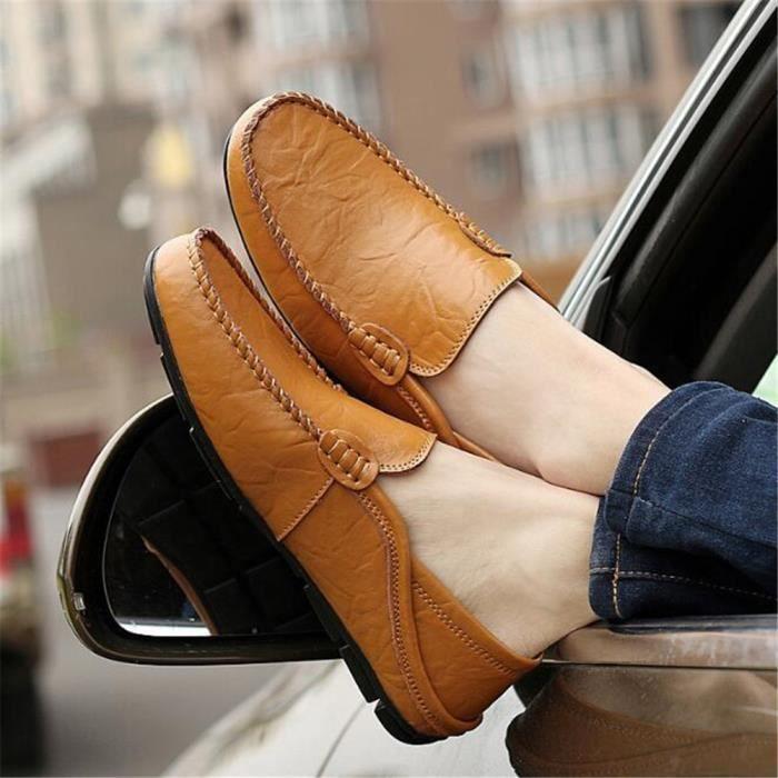 Mocassins Hommes Cuir Printemps Ete Leger Mode Plat Chaussures DTG-XZ078Marron44 8By4oLa