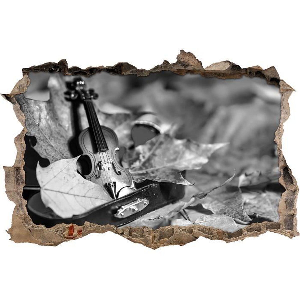 STICKERS Violon Miniature Entour De Feuilles Art B