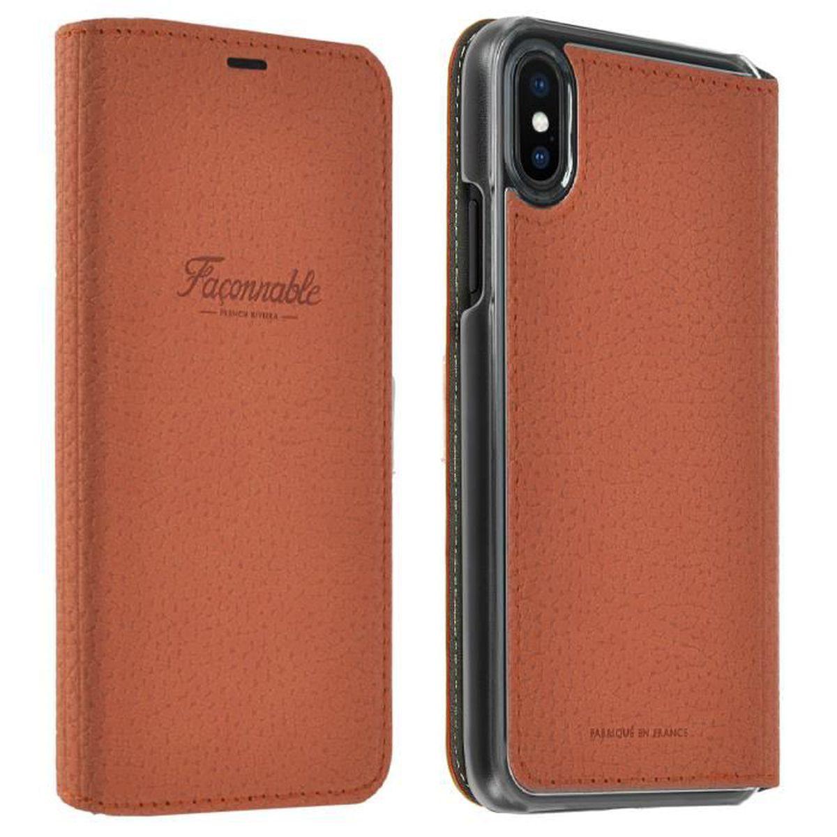 Étui iPhone X Housse folio ultra-fine à effet grainé orange ... 512353804524