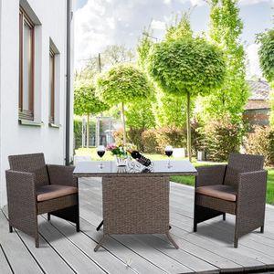 Ensemble 2 bancs + table 4 personnes noir et béton - MODERN - Achat ...