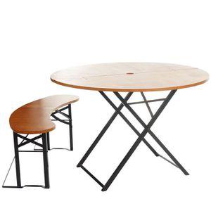 Table bois pliante avec banc - Achat / Vente pas cher