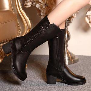 BOTTE Fourrure de laine à l'intérieur des chaussures cha