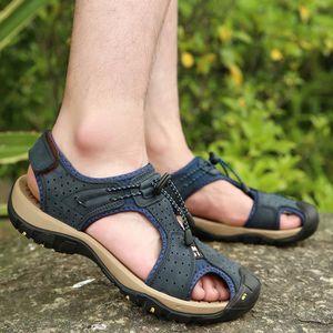 SANDALE - NU-PIEDS Été en plein air Hommes cuir Flats sandalettes Cas