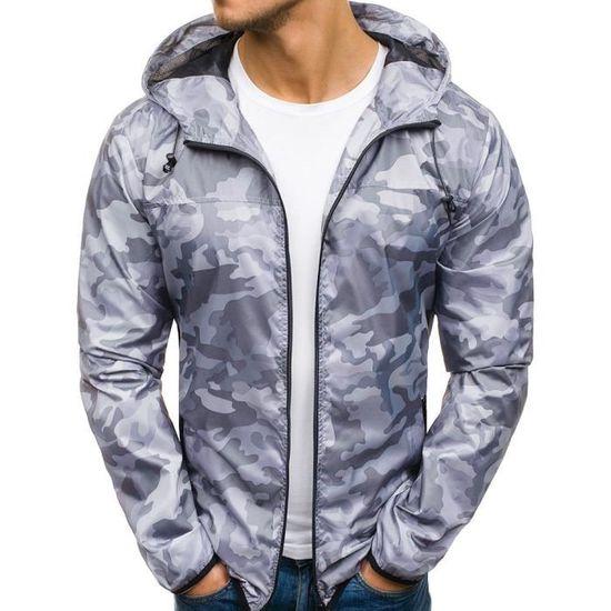 Gris Veste Marioyuzhang Automne Pocket Zip Sweats Manteau Camouflage Hiver De Capuche Slim Casual À Fit Hommes ZZw6qrTxf