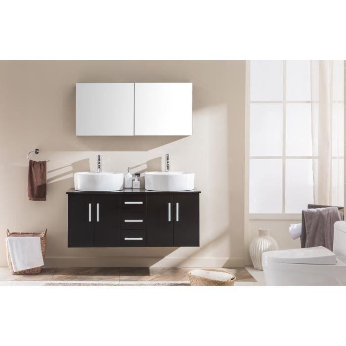 Meuble de salle de bain Ambre 2 vasques + 1 miroir - Wengé - Achat ...
