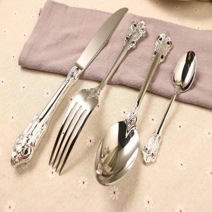 Boîte De Cadeau De Luxe Western Argent Coutellerie En Acier Inoxydable Nourriture Argenterie Vaisselle Ustensiles Cuisine Mariage