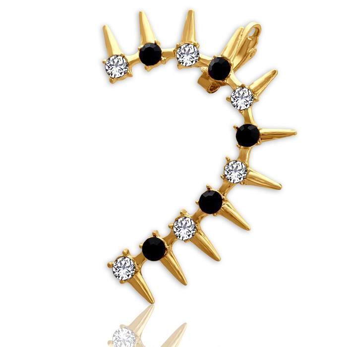 Plaqué or Femmes Noir et Blanc annonce Pierre spike avec cristal doreille (à gauche) Pour Aier 876 MBJWQ
