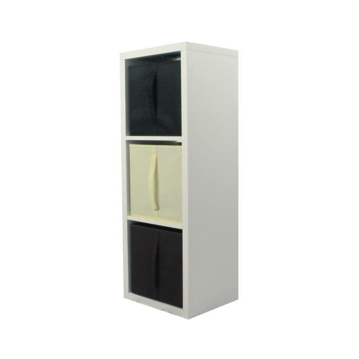 Compo Meuble De Rangement Noir.Compo Meuble De Rangement 3 Cases 3 Cubes Choco Ecru Noir L38 X H105 2 X P32 Cm Ep 30 Mm