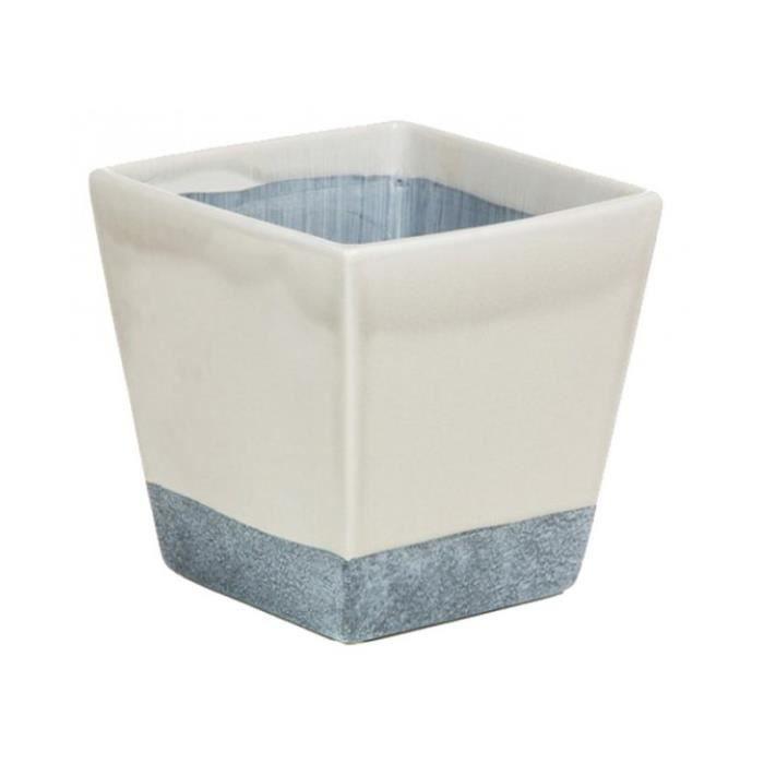 Pot De Fleurs Carre En Ceramique Blanc Bleu Achat Vente