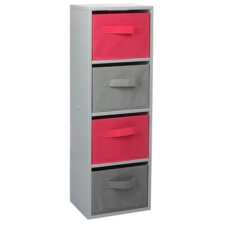 meuble cube avec 4 tiroirs gris et rose achat vente tiroir coulissant meuble cube avec 4. Black Bedroom Furniture Sets. Home Design Ideas