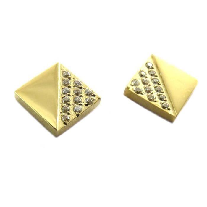 Boucles créateur Acier Sissi blanc doré (lozange) - 8x8 mm [P7748]