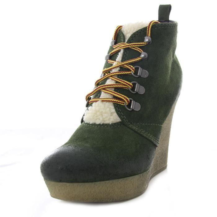 DIESEL boots femme compensées cuir ENOS vert
