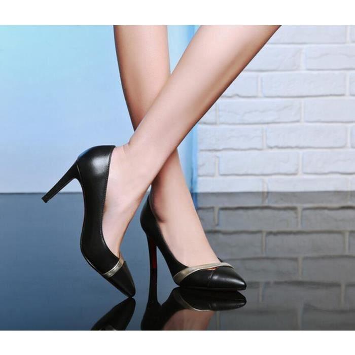 pompes 2016 nouveau cuir sexy talon mince de femmes orteil pointu couleurs m lang es hauts talons