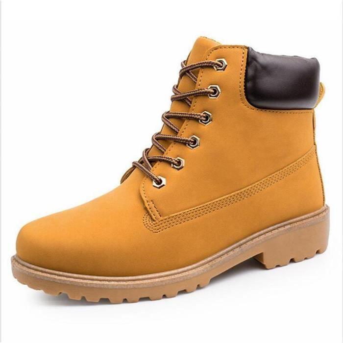 Boots En Homme Haute Cuir Bottines XZ020Jaune44 Qualité Martin GD RSOHYx