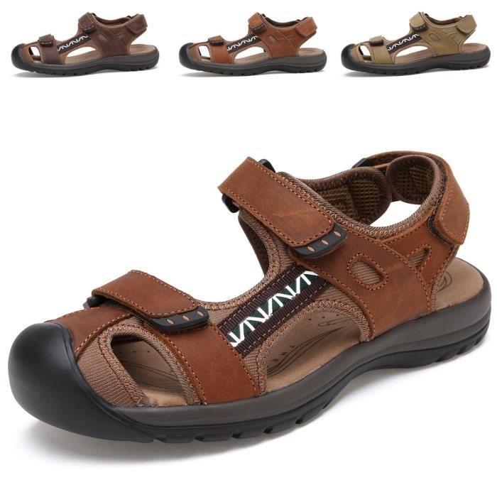Sandales sport en cuir pour hommes Sandales d'été en plein air Pêcheur Respirant Sport Plage MZP7H 41 2ocPR0QON