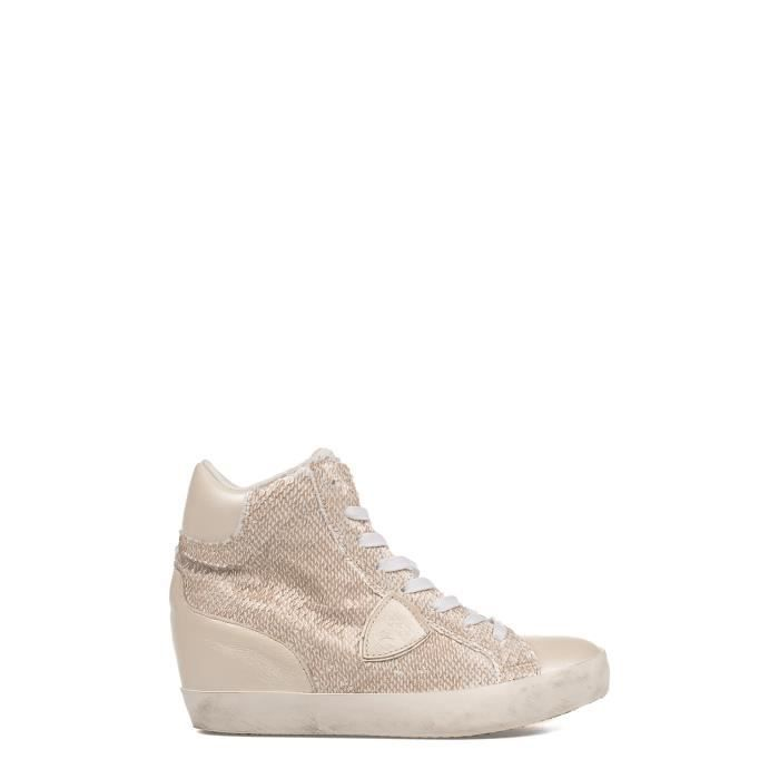PHILIPPE MODEL FEMME PFHDLP55 BLANC CUIR BASKETS MONTANTES