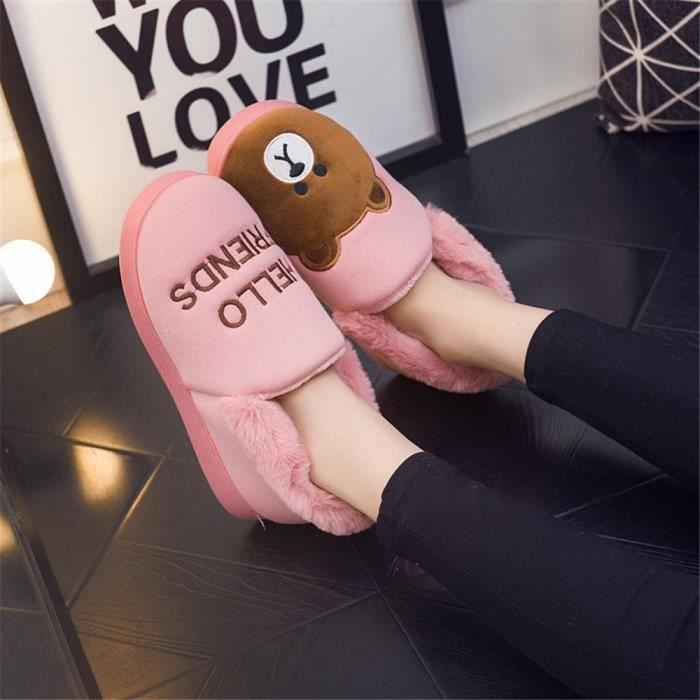 Ours Chausson Plus De Cachemire Hiver Chaussons Confortable Garde Au Chaud Coton Femme Chaussure Mignon Haut qualité Doux 36-45