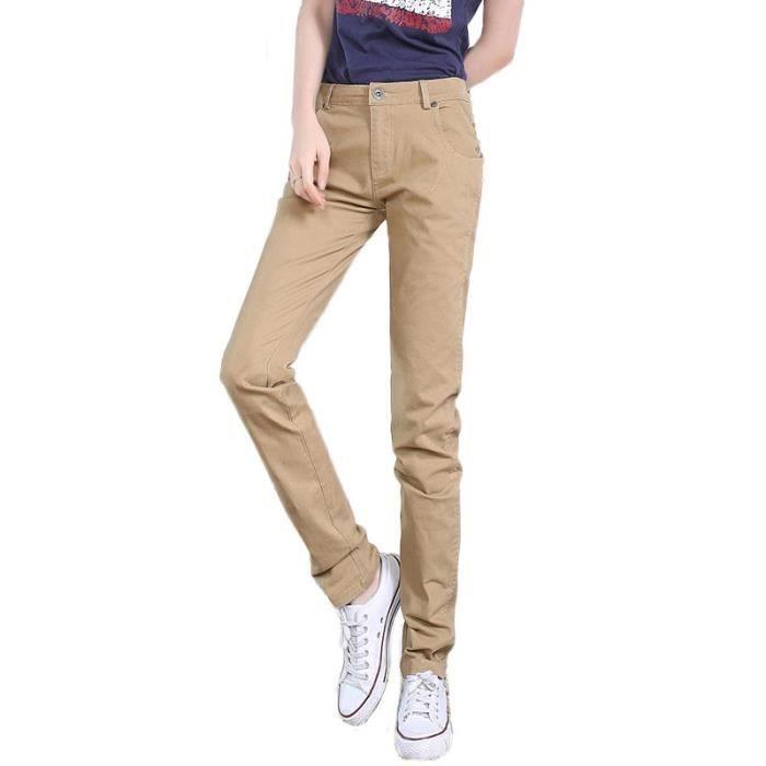 Pantalon Chino Femme Stretch Slim Fit Pantalon en Coton Couleur Unie  Vetement Elegant 592f607034fc