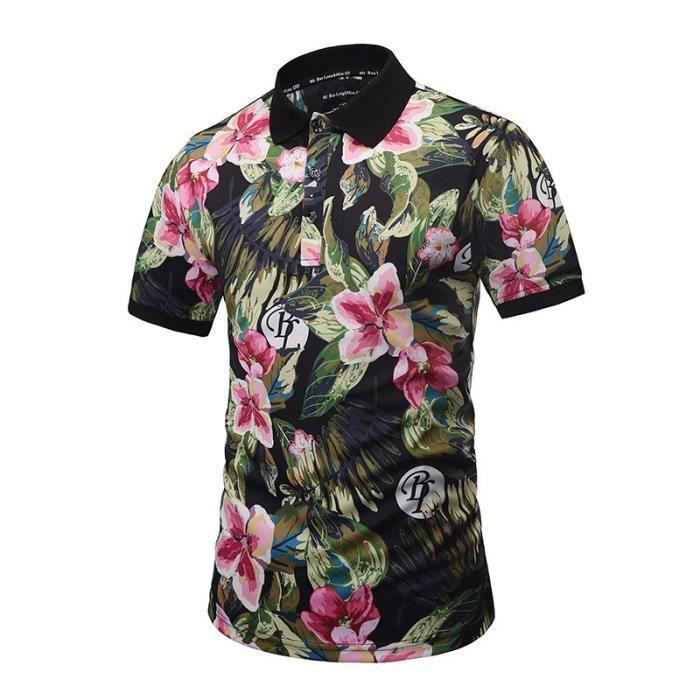 été Polo Plage Shirt Marque Luxe Mode Hawaii Style Imprimé Floral Manche  Courte Polo Pour Homme Slim Fit Polos Coton Homme 56c6ea755ea