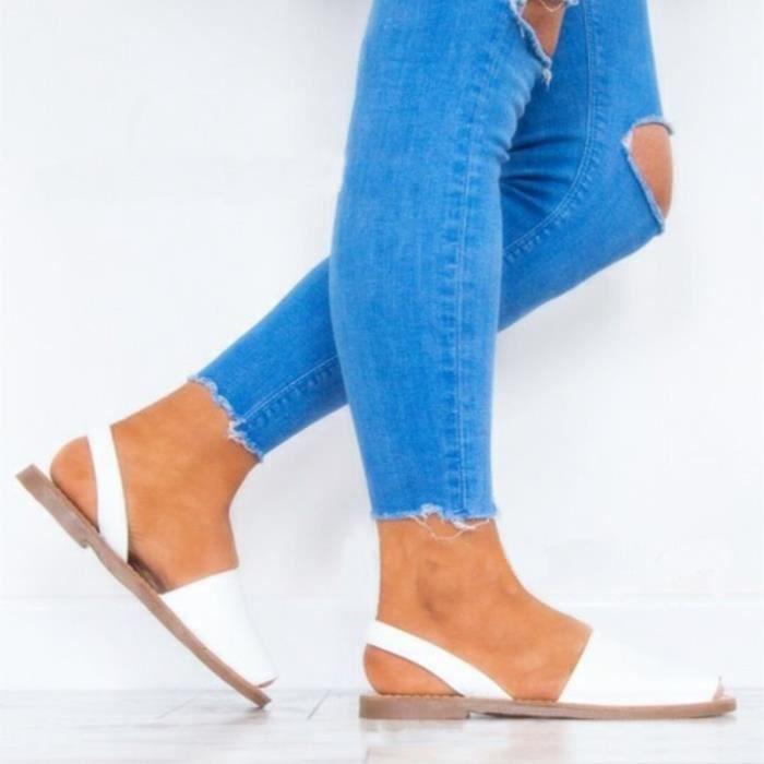 Orteils Mou Plages Sandales Grande pieds Taille Exposés 37 Confortable Fond Blanc Chaussures Femme marron À Blanc Nu wp8dxY8rq