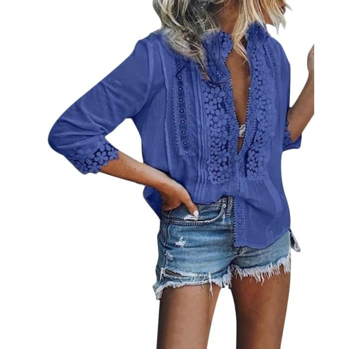 848e5b787ad04 Tomwell Chemisier Femmes Chic Blouse Ete Manches Longues Dentelle Tunique  Haut Tops Col V Silm Grande Taille Tee Shirt