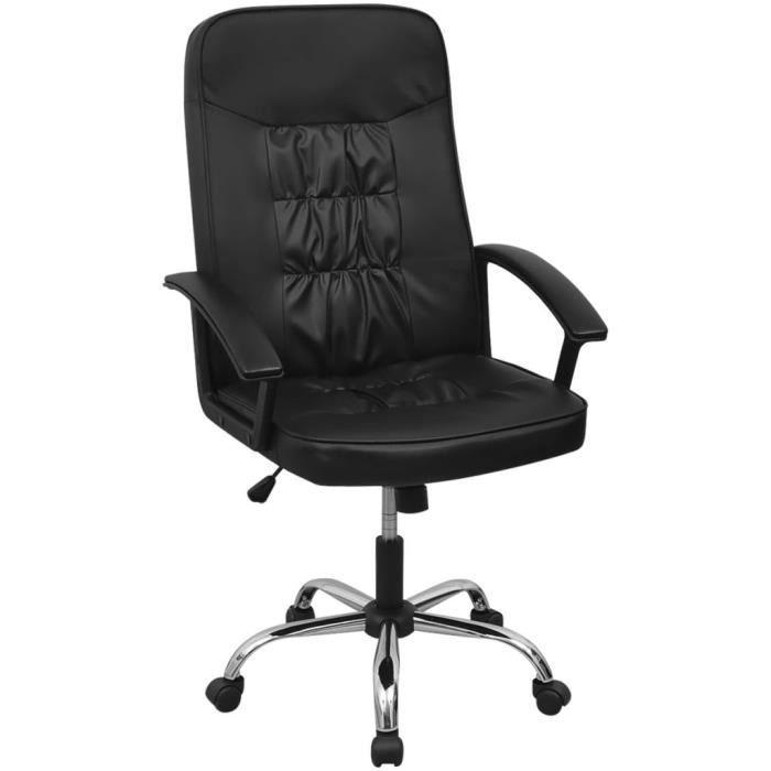 Qualité Artificiel Luxueux 67x70 Haute De Cm Bureau Cuir En Economique Chaise Magnifique Noir j35AR4L