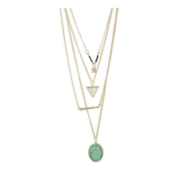 Womens Accessorisingg Four Layered Green Stone Necklace - 10k Gold Plated [nc008] YISOJ