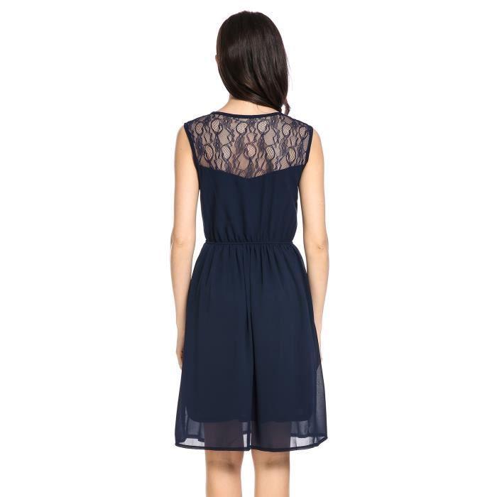 robe plissée décontractée en dentelle florale en mousseline de soie